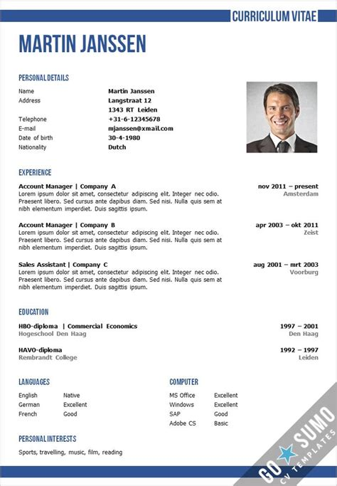 Cv Template Word by Cv Template Oxford Go Sumo Cv Templates Resume