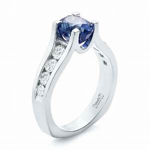 Custom blue sapphire and channel set diamonds engagement ring for Blue sapphire wedding ring set