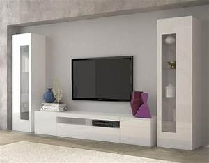 Aquila Modern TV And Display Wall Unit In White Gloss