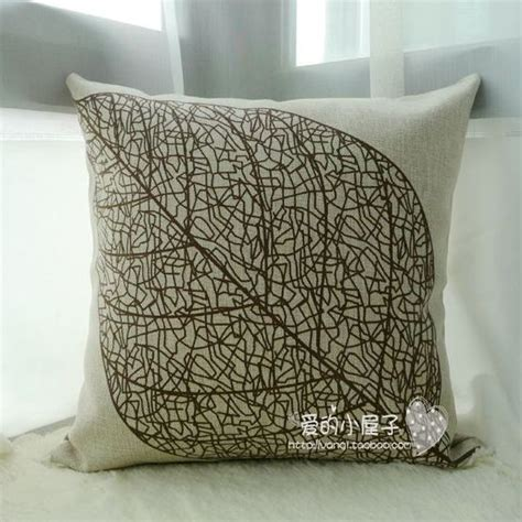 sofa pillow covers 18 quot exclusive cotton linen ikea style leaf pattern
