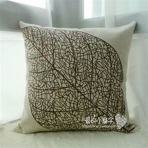 18quot exclusive cotton linen ikea style leaf pattern With sofa cushion cover price