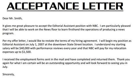 job acceptance letter  acceptance letter