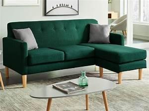 Canapé D Angle Vert : canap d 39 angle scandinave en tissu vert auma ~ Teatrodelosmanantiales.com Idées de Décoration