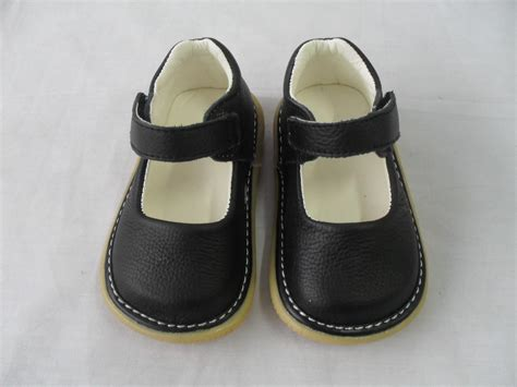 Toddler Shoes : New Baby Girls Black Leather Dress Squeaky Shoes Toddler