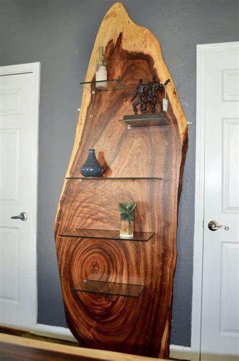 modern  edge acacia wood slab bookshelf