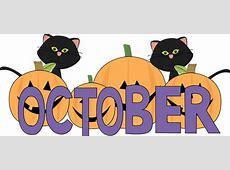 october October Pumpkins and Black Cats Clip Art Image