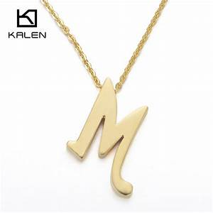 kalen new capital letter m pendant necklaces for men With gold letter pendants for men