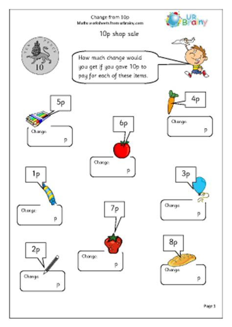 change from 10p 2 money maths worksheets for year 1 age