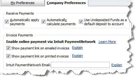 accounts receivable  quickbooks  intuit payment network