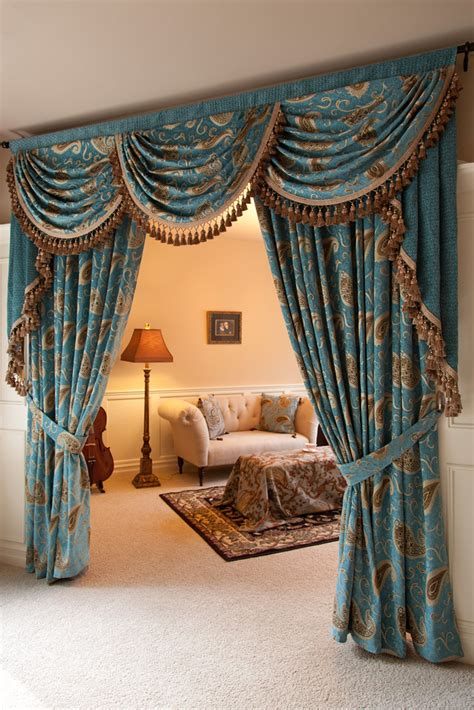 Swag Drapes And Curtains - medici sapphire swag valances curtain drapes