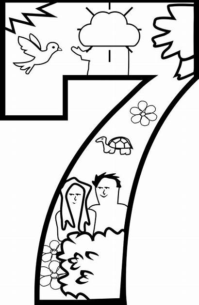 Creation Coloring Pages Clipart Days God Cartoon