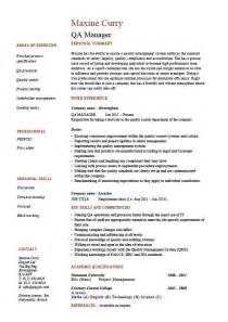 quality manager resume exles qa manager resume quality assurance safety cv description career qualifications exle