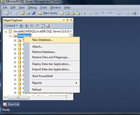 Can`t Create Database In Sql Server 2012 Management Studio