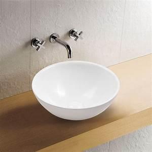Waschbecken 40 Cm : aufsatz keramik waschbecken rund highline brillant wei 40 cm badkeramik waschbecken ~ Indierocktalk.com Haus und Dekorationen