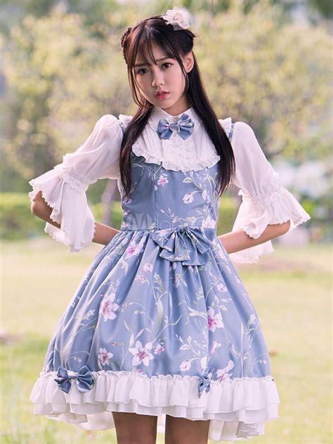 sweet lolita dress op light blue  length sleeve floral