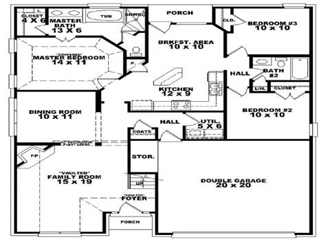 3 bedroom house plans one 3 bedroom 2 bath house floor plan 3d 3 bedroom 2 bath