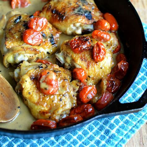 chicken thigh recipes chicken thighs with blistered tomatoes