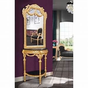 Miroir Baroque Doré : console demi lune avec miroir style baroque bois dor et marbre noir ~ Teatrodelosmanantiales.com Idées de Décoration