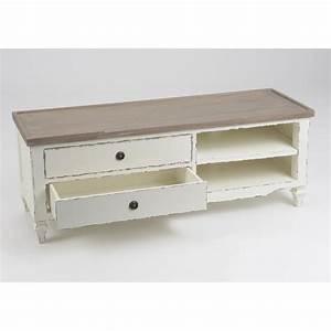 Meuble Tv Banc : meuble tv gustave 120 cm en bois naturel et blanc ~ Teatrodelosmanantiales.com Idées de Décoration