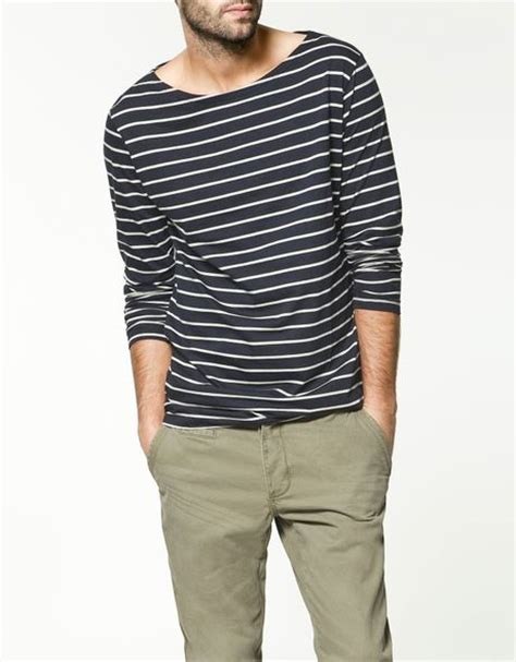 Boat Neck T Shirt For Mens by Zara Boat Neck T Shirt In Blue For Navy Lyst