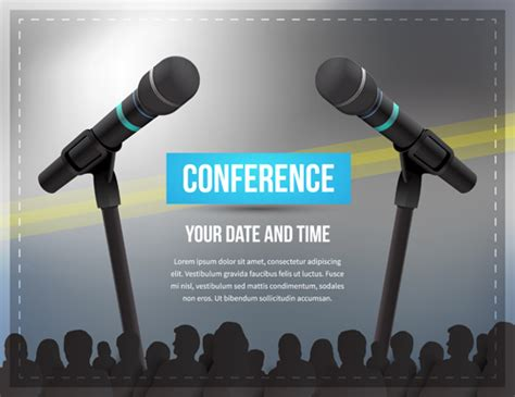 christmas microphone template conference microphones business template vector 06