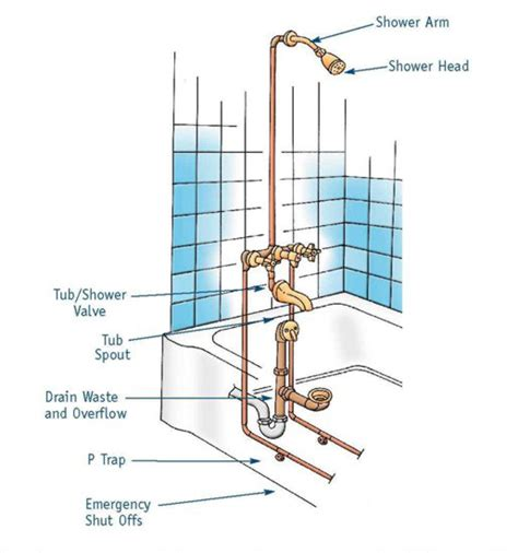 bathtub drain trap diagram shower drain plumbing diagrams