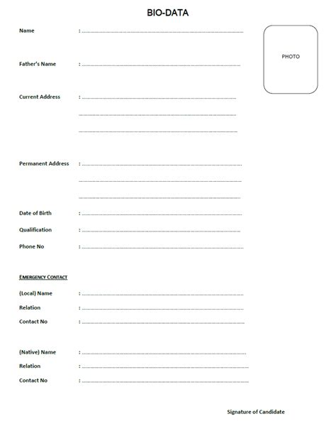 Biodata Form Free by Bio Data Form Pdf Iliftk Loads Bio Data