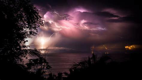 fonds decran costa rica nuit mer nuages eclair