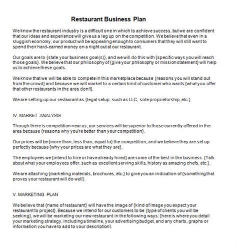 restaurant business plan template 5 free restaurant business plan templates excel pdf formats