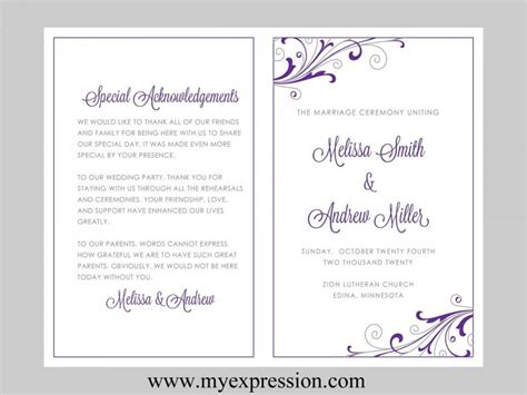 microsoft word wedding program templates wedding program template swirl and flourish purple silver instant editable ms