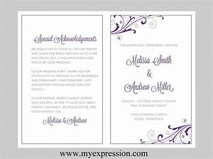 Microsoft word wedding program templates choice image for Avery wedding program templates