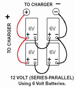 charging and maintaining multiple batteries with the With wiring 4 6v batteries in series