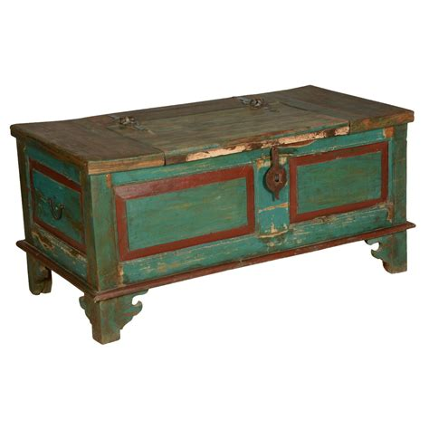 distressed coffee table blue red farmhouse distressed reclaimed wood coffee table chest