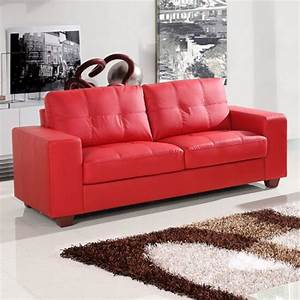 Small red leather sofas for vibrant small living area in for Red sectional sofa canada