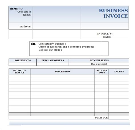 sample business invoice template   documents
