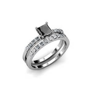 black wedding ring set bridal sets black bridal sets princess cut