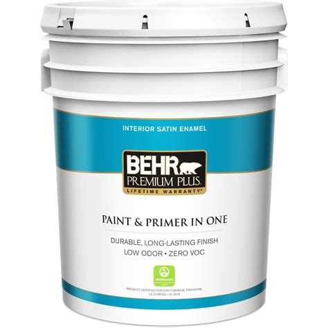 behr premium plus 5 gal medium base satin enamel zero voc
