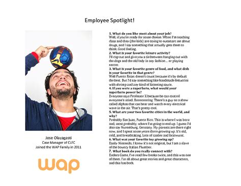 employee spotlight template employee spotlight jose olazagasti workers assistance program wap