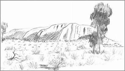 Drawing Rock Ayers Sketch Landscape Uluru Draw