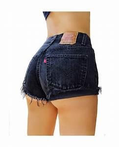 Levis High Waisted Denim Shorts Cuffed Rolled Black Denim