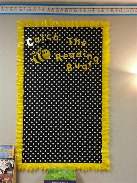 catch  reading bug bee themed bulletin board polka