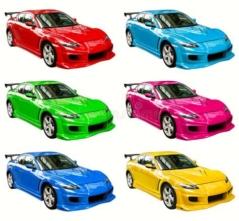 Colorful Cars Stock Photo. Image Of Blue, Cyan, Color