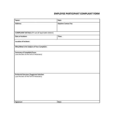 complaint template 49 employee complaint form letter templates template archive