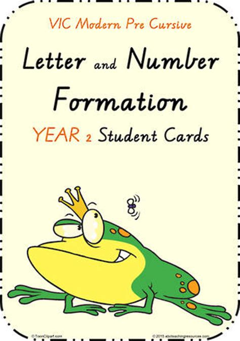 year  handwriting letter formation cards vic pre