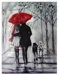 Peinture En Noir Et Blanc : peint la main rainy rue paysage amoureux avec chiens peinture l 39 huile abstraite moderne noir ~ Melissatoandfro.com Idées de Décoration