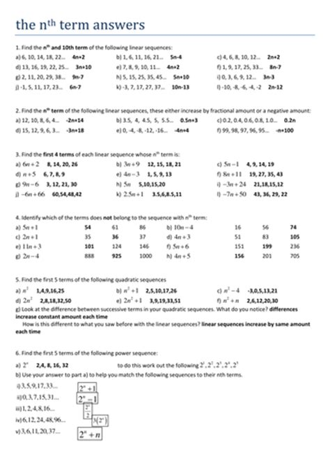 maths ks4 the nth term worksheet by tristanjones teaching resources tes