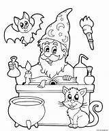Coloring Cauldron Cat Wizard Printable Halloween sketch template