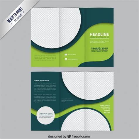 Brochure Templates For Free by Green Brochure Template With Circles Vector Free