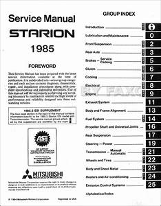 Service Manual  1985 Mitsubishi Galant Workshop Manual