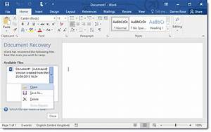 Document recovery for Recover documents word 2016